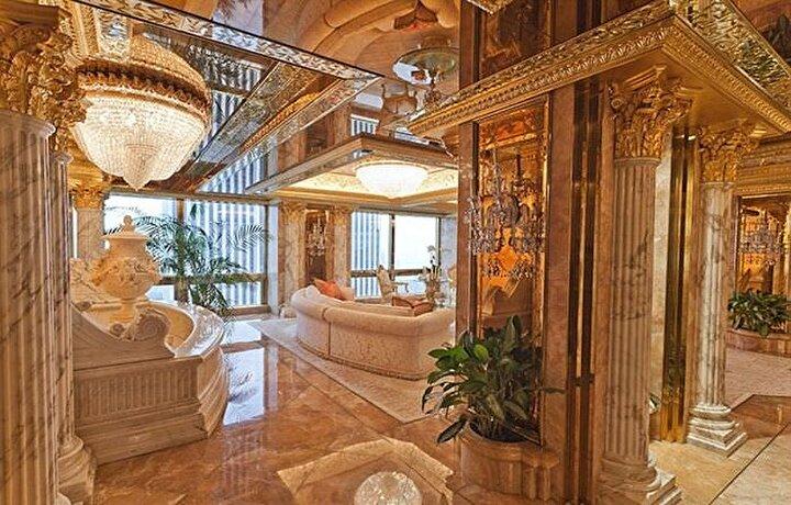 66. katta lüks bir dairede oturan Trump ailesinin evinin içi altın kaplama eşyalarla dolu.