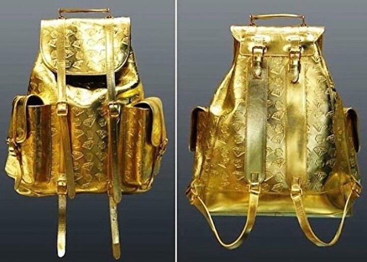 Altın sırt çantası yaklaşık olaran 2 bin dolara satıldı.