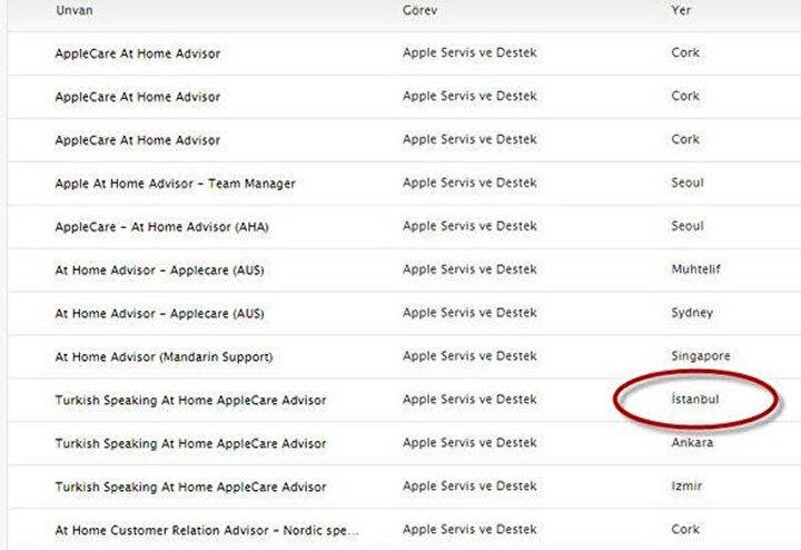 Apple'ın yayınladığı iş ilanları arasında İstanbul, Ankara ve İzmir bulunuyor.