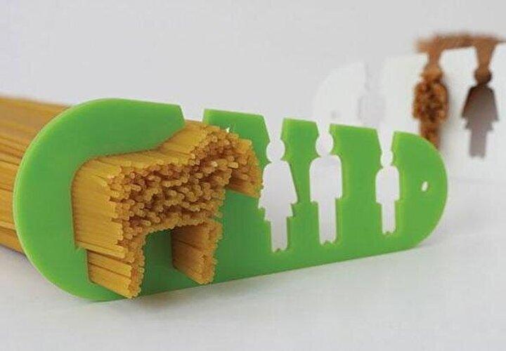 Spagetti için porsiyon ölçer (Soldaki ölçek atlar için)