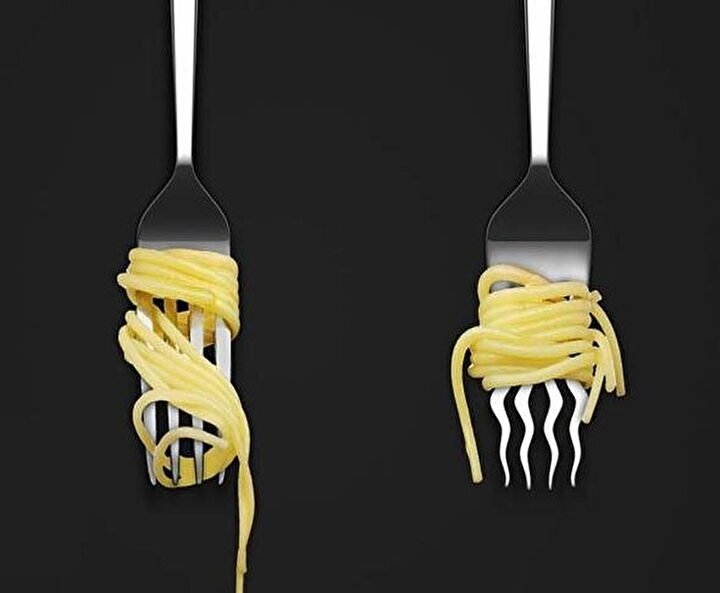Spagettiyi kaydırmayan çatal