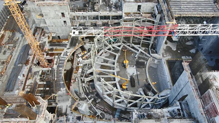 Havadan görüntülenen inşaat alanından Yeni AKM projesinin opera salonu iskeletinin ortaya çıktığı görüldü.