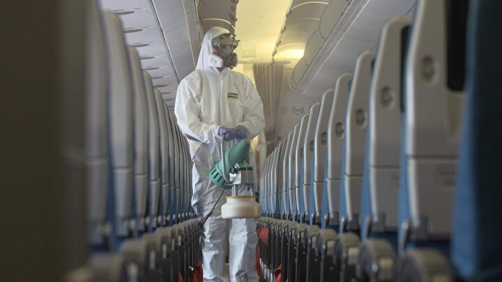 THY uçakları işte böyle dezenfekte ediliyor.