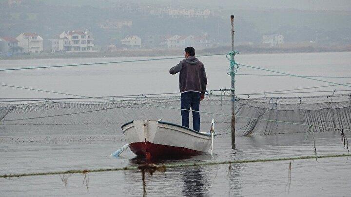 Boğazdan geçip kum adasından geçemeyen balık sürüleri, geri dönüşte balıkçıların kurduğu tuzağa girerek av oluyor.