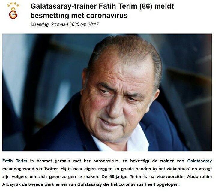 VOETBALZONE (HOLLANDA): Galatasaray Teknik Direktörü Fatih Terim, koronavirüse yakalandığını duyurdu.