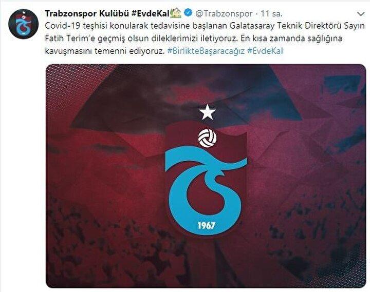 Trabzonspor: Covid-19 teşhisi konularak tedavisine başlanan Galatasaray Teknik Direktörü Sayın Fatih Terim'e geçmiş olsun dileklerimizi iletiyoruz. En kısa zamanda sağlığına kavuşmasını temenni ediyoruz