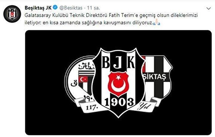 Beşiktaş: Galatasaray Kulübü Teknik Direktörü Fatih Terim'e geçmiş olsun dileklerimizi iletiyor; en kısa zamanda sağlığına kavuşmasını diliyoruz