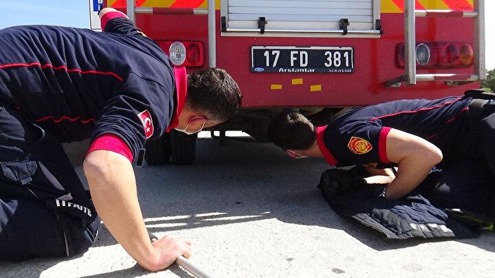 Yoldan geçen diğer araç sürücülerinin de şaşkın bakışları arasında devam eden kurtarma operasyonunda, kedinin otomobilin arkasında park halinde olan itfaiye aracının altına kaçtığı anlaşıldı.