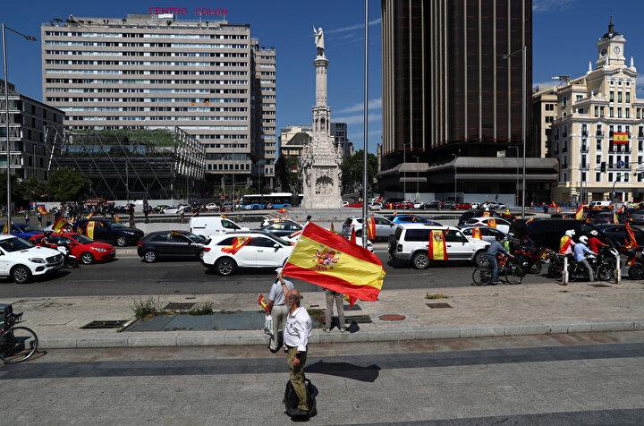 Protesto eylemine, İspanya ve özgürlüğü için konvoy adı verildi.