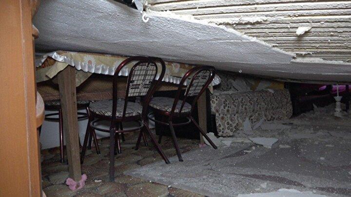 Ardından kapıyı zorlayarak açan Adıgüzel çöken tavanı görünce neye uğradığını şaşırdı. Adıgüzel üzerindeki şoku atlattıktan sonra 112 Acil Çağrı Merkezini arayarak yardım istedi. İhbar üzerine bölgeye polis ve itfaiye ekipleri sevk edildi. Olay yerine gelen ekipler incelemelerde bulunarak, tutanak tuttu ve daha sonra bölgeden ayrıldı.