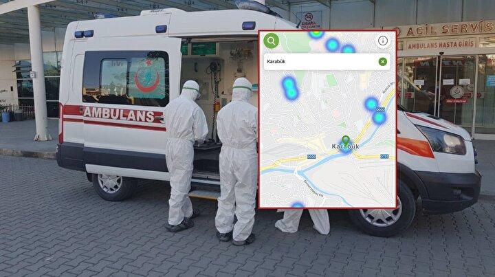 Karabük, koronavirüs yoğunluk haritası.