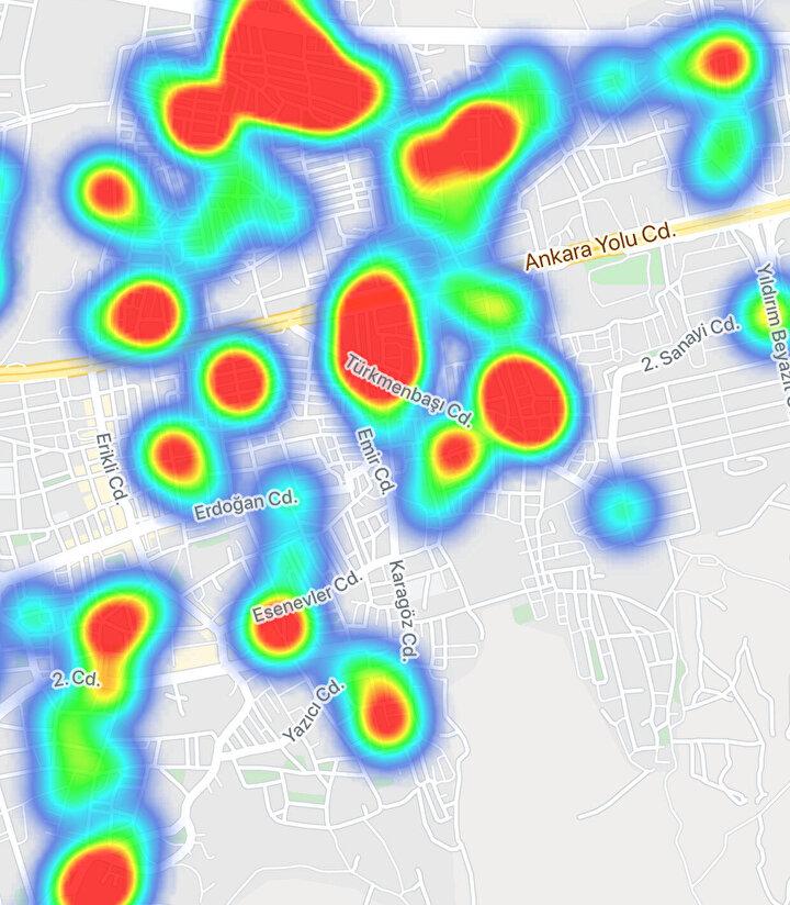 Bursa, koronavirüs yoğunluk haritası.