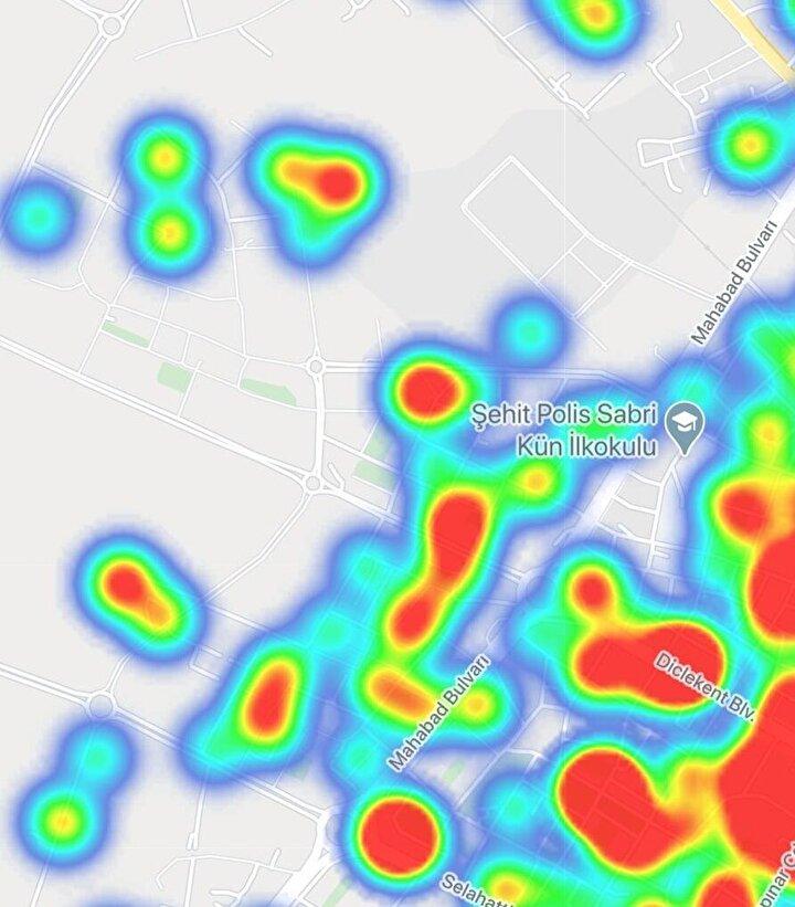 Diyarbakır koronavirüs yoğunluk haritası.