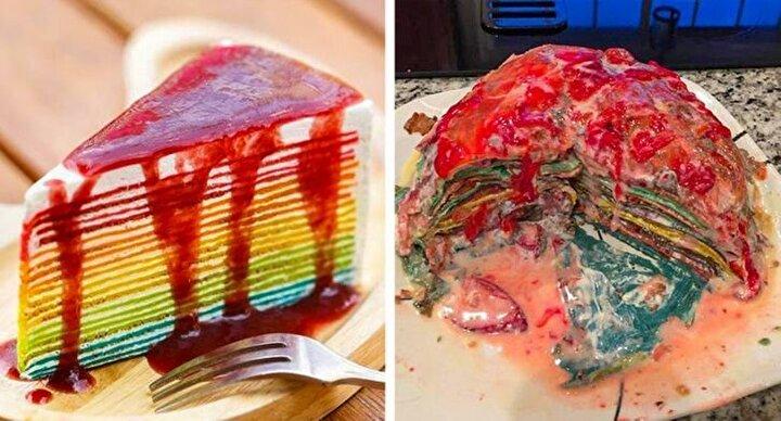 Renkli bir krep pasta yapmak isterken ulaşılan son evre.