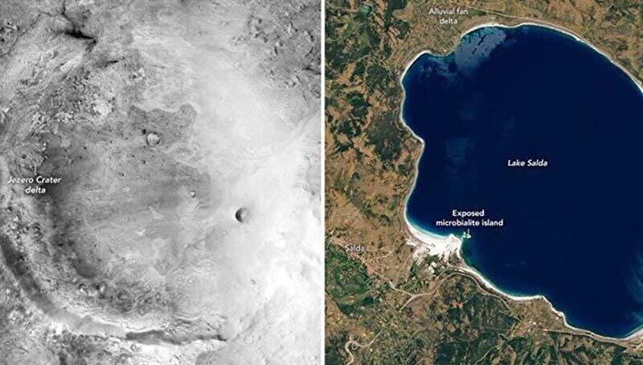 ABD Havacılık ve Uzay Ajansı (NASA), Marstaki Jezero Krateri üzerinde inceleme yapacak olan uzay aracı Perseveranceı fırlattığı gün Salda Gölü ile ilgili Twitterdan bir paylaşım yapmıştı.