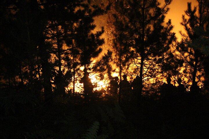 Köy halkının da destek verdiği çalışmalar sonrasında yangın kontrol altına alındı.