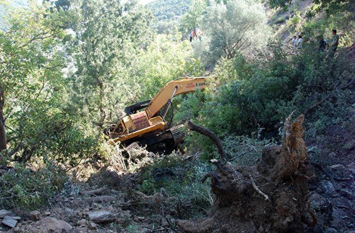 Ağaca takılarak durabilen iş makinesinin operatörü Pişkin, hayatını kaybetti.