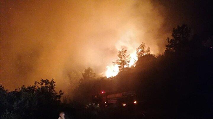 Rüzgar nedeniyle hızla yayılan yangına yakın bölgede yerleşim yerlerinin de bulunduğu öğrenildi.
