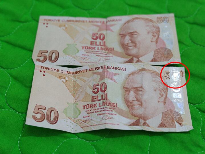 Kaya, daha sonra para sayma makinesinden geçirdiği banknotun hatalı basım serisinden olduğunu tespit etti.
