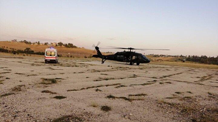 Ekiplerden bebeğin durumu ile ilgili alınan bilgiler sonrası, kısa süre içerisinde Jandarma Filo Komutanlığında hazırlıkları tamamlanan Skorsky tipi helikopter havalanarak Erciş ilçesindeki 108'inci Topçu Alay Komutanlığı pistine iniş yaptı.