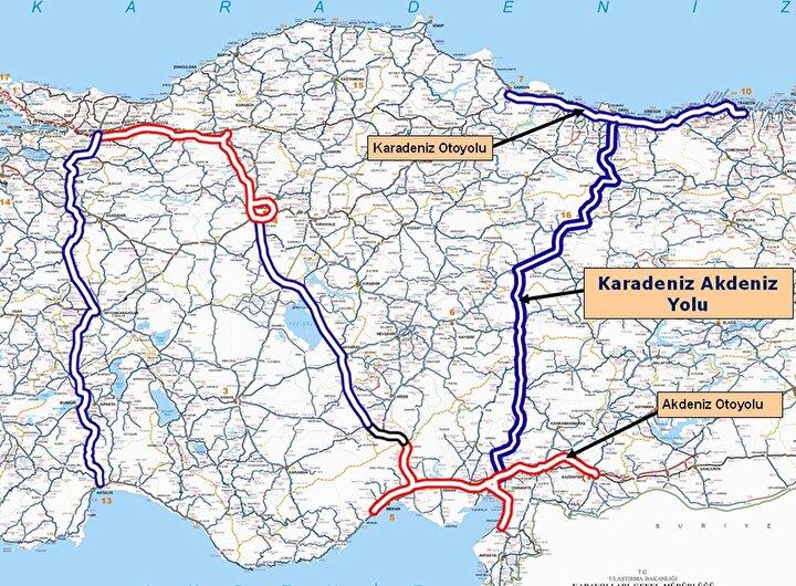Projenin en önemli etabı ise Ordunun Mesudiye ilçesi sınırları içinde yer alıyor. Altınordu-Mesudiye arasındaki mesafe, 3 kilometrelik Topçam Tünelinin 2018 yılında açılması ve diğer çalışmalarla 81 kilometreye inerken, yaklaşık 2,5 saat süren yol ise 1 saate indi. Kısa süre içinde tamamlanması planlanan yol ile Karadenizden Akdenize ulaşım ise 6 saate inecek.