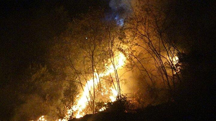 Trabzon'un Ortahisar İlçesi Akyazı Mahallesinde bulunan stadyumun karşı kısmında yer alan dik yamaçtaki boş arazide bilinmeyen bir nedenle bu gece yangın çıktı.