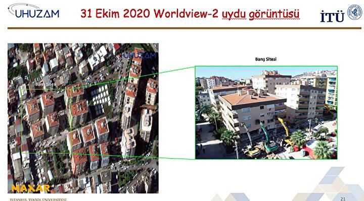 Depremin etkisiyle Cumhuriyet Sitesinde yan yatan binaların yer aldığı görüntüler dikkati çekti.