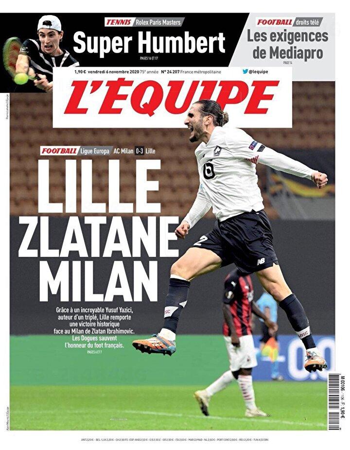 Ayrıca L'Equipe maç haberini bu görselle okuyucularına duyurdu.