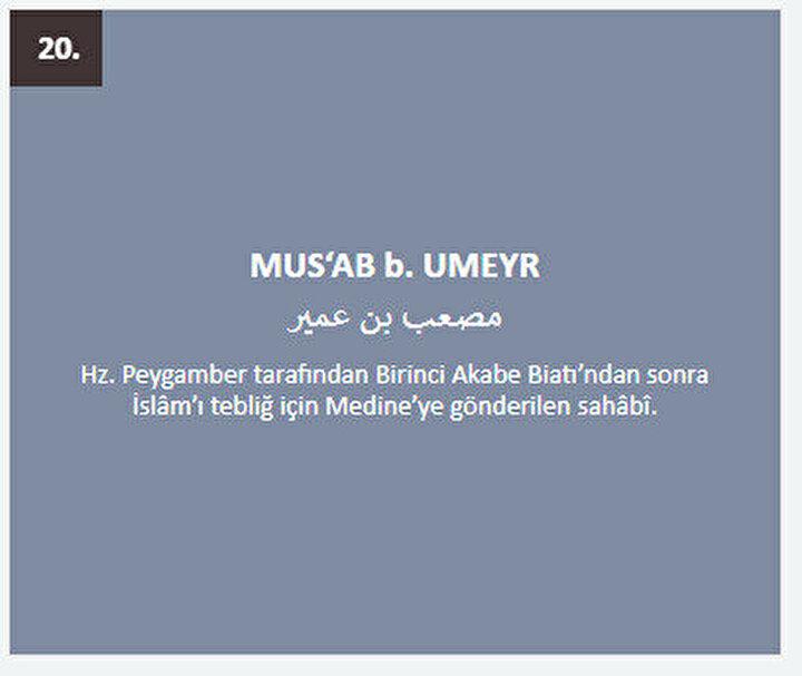 Musab b. Umeyr: Hz. Peygamber tarafından Birinci Akabe Biatı'ndan sonra İslâm'ı tebliğ için Medine'ye gönderilen sahâbî.