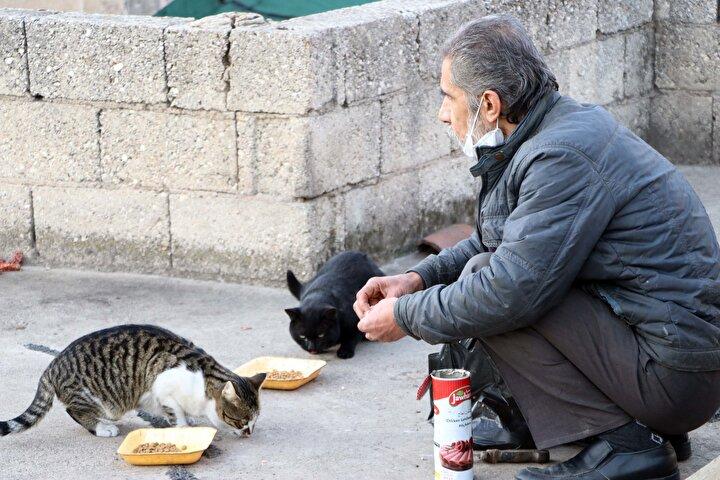 Bekirbey Mahallesindeki 2 katlı evinde yalnız yaşayan ve çalışamadığı için komşularının yardımıyla geçinen Burhanettin Salgar, hayatını kedileriyle sürdürüyor.