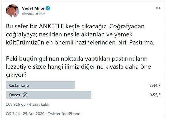 """Sosyal medyadaki ankete kısa sürede binlerce yorum yapıldı. Belediyelerden sivil toplum kuruluşlarına birçok kurum ve kuruluş yorumlarıyla oy oranlarını yükseltmeye çalıştı. Kastamonu Belediyesi, """"Kayseri pastırmasının adı, Kastamonu pastırmasının tadı var"""" derken, Kayseri Kocasinan Belediyesi ise, """"Kastamonu denildiğinde aklıma; İnebolu kestanesi, Azdavay armudu, Araç ceviz ve kızılcığı, Taşköprü eriği ve sarımsağı geliyor ama Pastırma demek Kayseri demektir"""" yorumunda bulundu."""