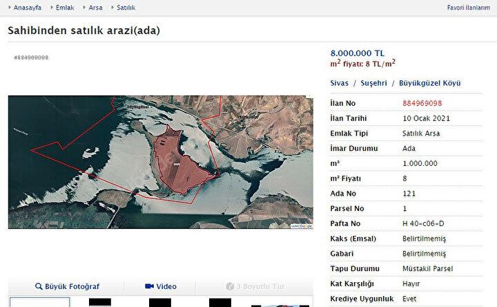 Sivas Suşehrinde Devlet Su İşlerince (DSİ) 2005 yılında Kelkit Çayı üzerine kurulan Kılıçkaya Barajı'yla birçok arazi, sular altında kaldı. Baraj gölünün oluştuğu bölgede rakımı yüksek olan 1000 dönümlük bölge ise çevresinin sularla kaplanmasıyla ada haline dönüştü. O dönem ada, DSİ tarafından ihale usulü satışa çıkarıldı. İhaleye ortaklarıyla giren Sivaslı iş insanlarından İsmail Karabiber, kendisi dahil 6 ortak olarak adayı satın aldı.
