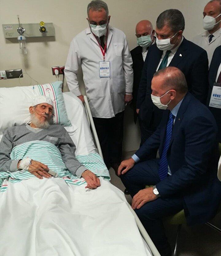 Ziyaret sonrası hastaneden çıkan Erdoğan, havalimanına geçerek beraberindeki heyetle kentten ayrıldı.