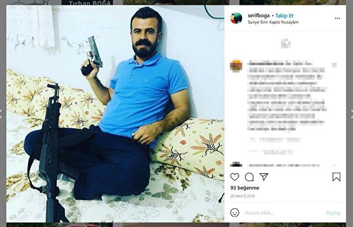 Sosyal medya hesaplarında elinde tüfek ve tabanca ile çekilmiş fotoğrafları da olduğu görülen Boğa'nın terör örgütü PKK ile bağlantısı incelemeye alındı.