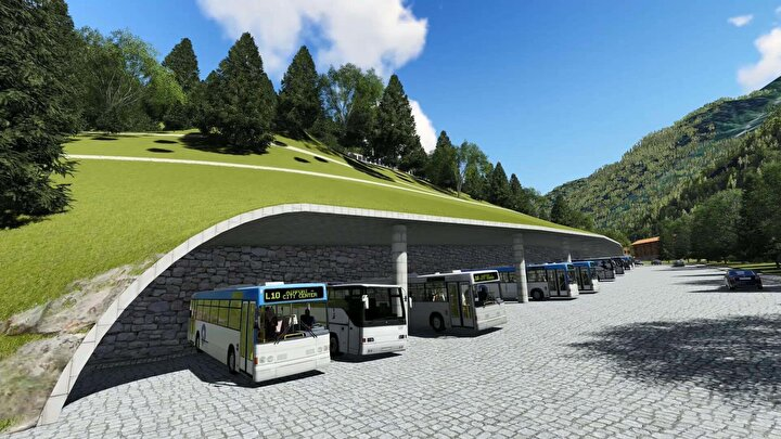 Bunun için de yaylanın en önemli sorunu olan otopark sorunu üzerine yoğunlaştık. 1732 araçlık, yaklaşık 500 tanesi otobüs olmak üzere bir otopark yapıyoruz. Buradan gittiğiniz zaman, otopark olan alanda hiç kimse beton bir yapı ve beton bir manzara görmeyecek. Katlı otopark tamamen dağın içerisine yerleştirilecek. Otoparkta aracınızdan indiğinizde, çıktığınız terasta yaylanın güzelliğini yaşamaya başlıyorsunuz.
