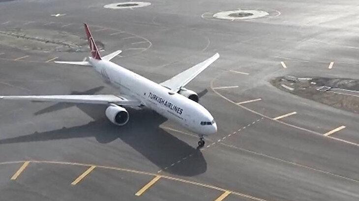 Uçağın 'taksi' ve 'pist başı' yapmasını bu videoda izleyebilirsiniz