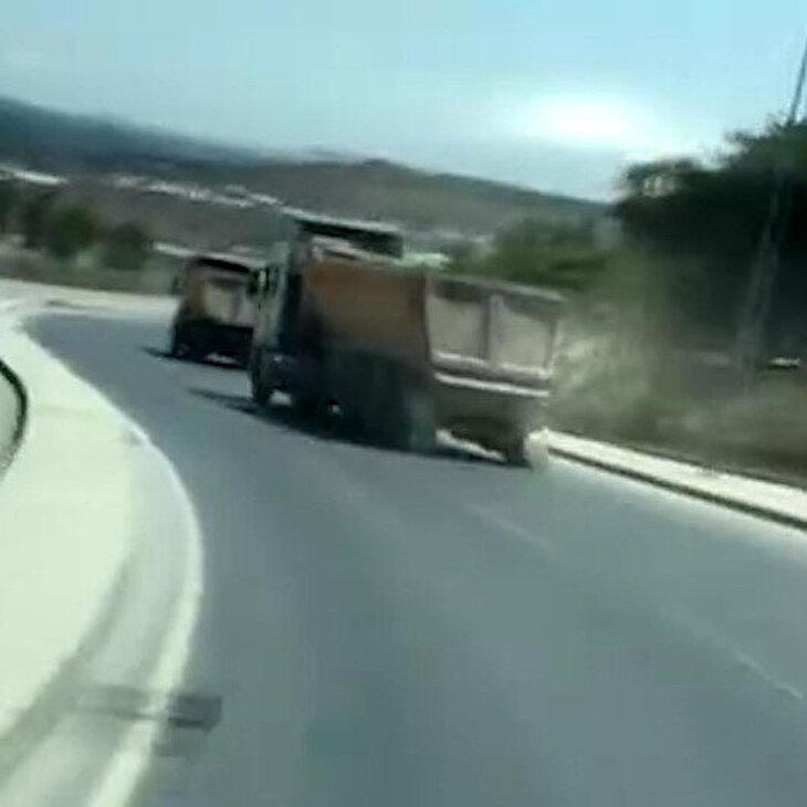 Yürekleri ağza getiren görüntü: Dev kamyonla drift yapa yapa yol gitti