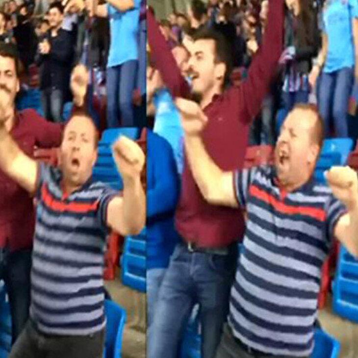 Trabzonspor taraftarının golle birlikte gelen ilginç dans gösterisi
