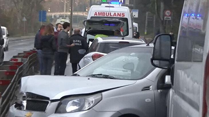 Sarıyer'de 8 araç birbirine girdi: Ortalık savaş slanına döndü