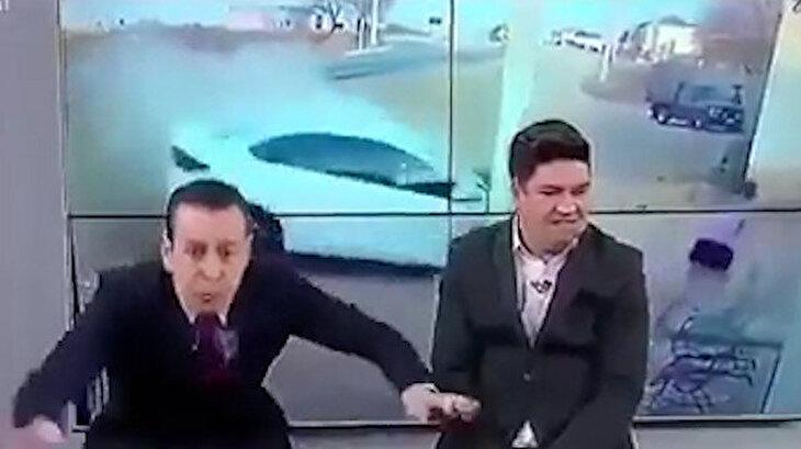 Canlı yayında kaza videosu ile büyük korku yaşayan adamlar