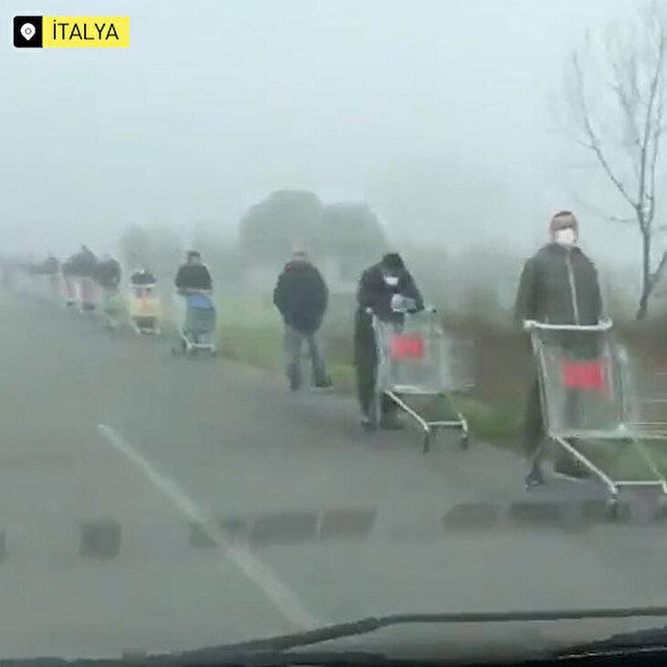 İtalya'da koronavirüs sebebiyle oluşan market kuyruğu kameraya yansıdı