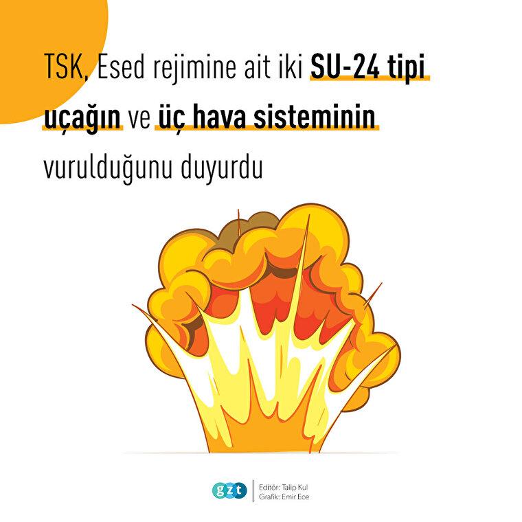 Esed rejiminin 2 uçağı ve 3 hava savunma sistemi vuruldu