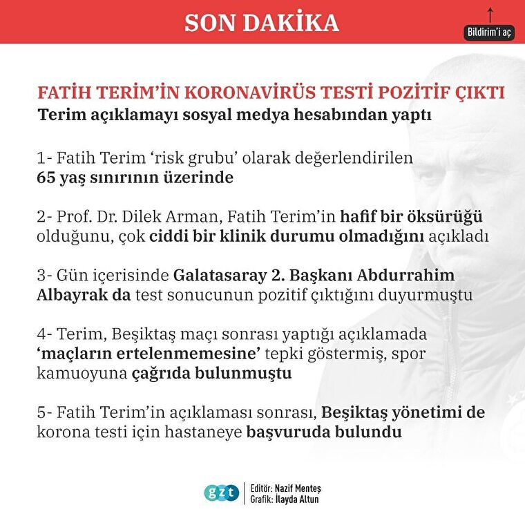 Fatih Terim'in koronavirüs test sonucu pozitif çıktı