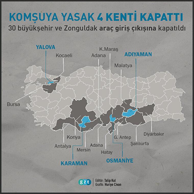 Adıyaman, Yalova, Osmaniye ve Karaman da karardan etkilendi