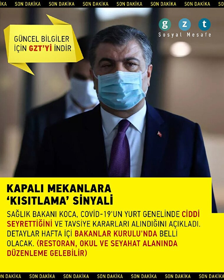 Sağlık Bakanı Koca'dan kapalı mekanlara 'kısıtlama' sinyali
