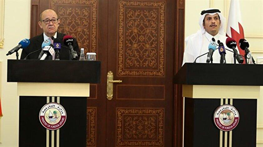 Fransa Dışişleri Bakanı Le Drian, Beyan Sarayı'nda kabul edildi.