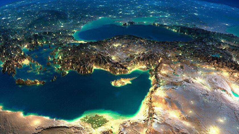KKTC ve Türkiye'nin uzaydan görünümü.