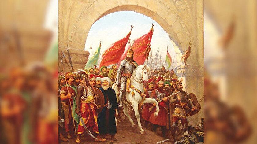 Fausto Zonaro'nun 'Fatih Sultan Mehmet'in İstanbul'a Girişi' isimli eseri.