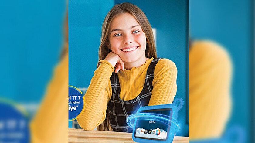 Özel tabletle çocuklar Dijital Zeka Eğitim Platformu DQ'dan eğitimler alabilecek.
