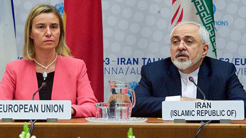 Avrupa Birliği Dışişleri ve Güvenlik Politikaları Yüksek Temsilcisi Federica Mogherini ile İran Dışişleri Bakanı Cevad Zarif.